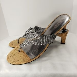Lauren Ralph Lauren Silver and Cork Sandals Heels